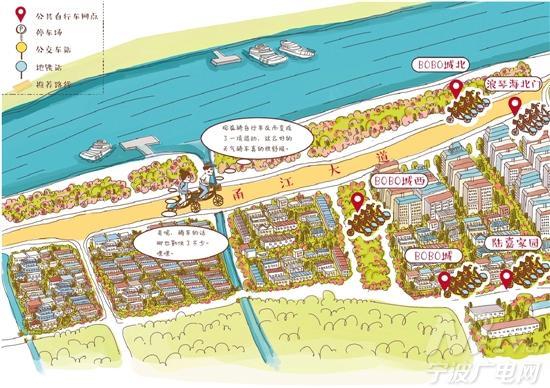 """7幅手绘地图,主要围绕日湖,月湖,天一阁和鼓楼等极具""""宁波味""""的景点"""