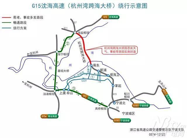 沈海高速上海至宁波方向:走杭州湾环线北线到海宁枢纽→嘉绍大桥