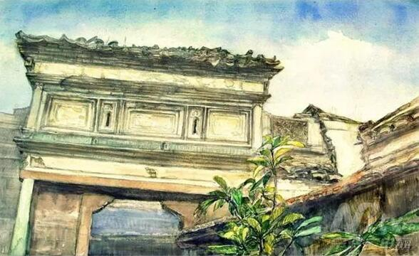 宁波江北马径村古建筑手绘展开展 画笔记乡愁