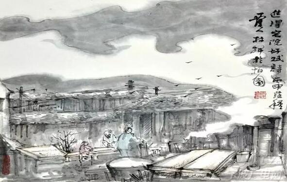 张林辉 水墨画-宁波江北马径村古建筑手绘展开展 画笔记乡愁