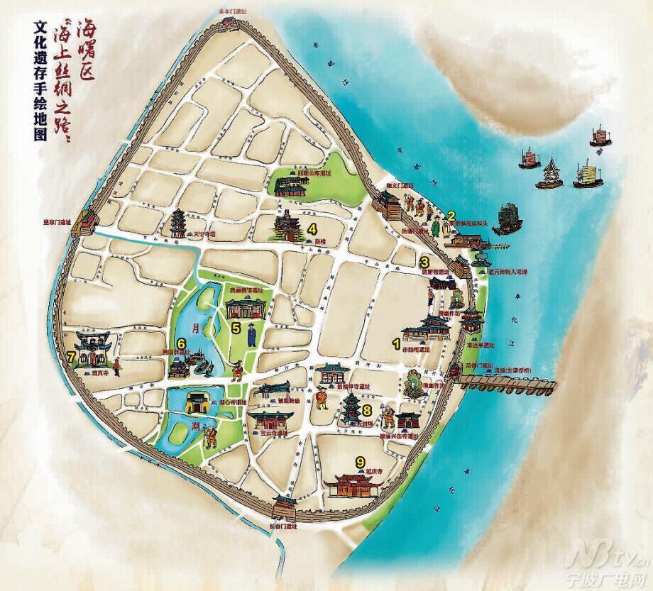 """首幅""""海丝遗产""""手绘地图出炉 标识20多处遗迹-宁波"""