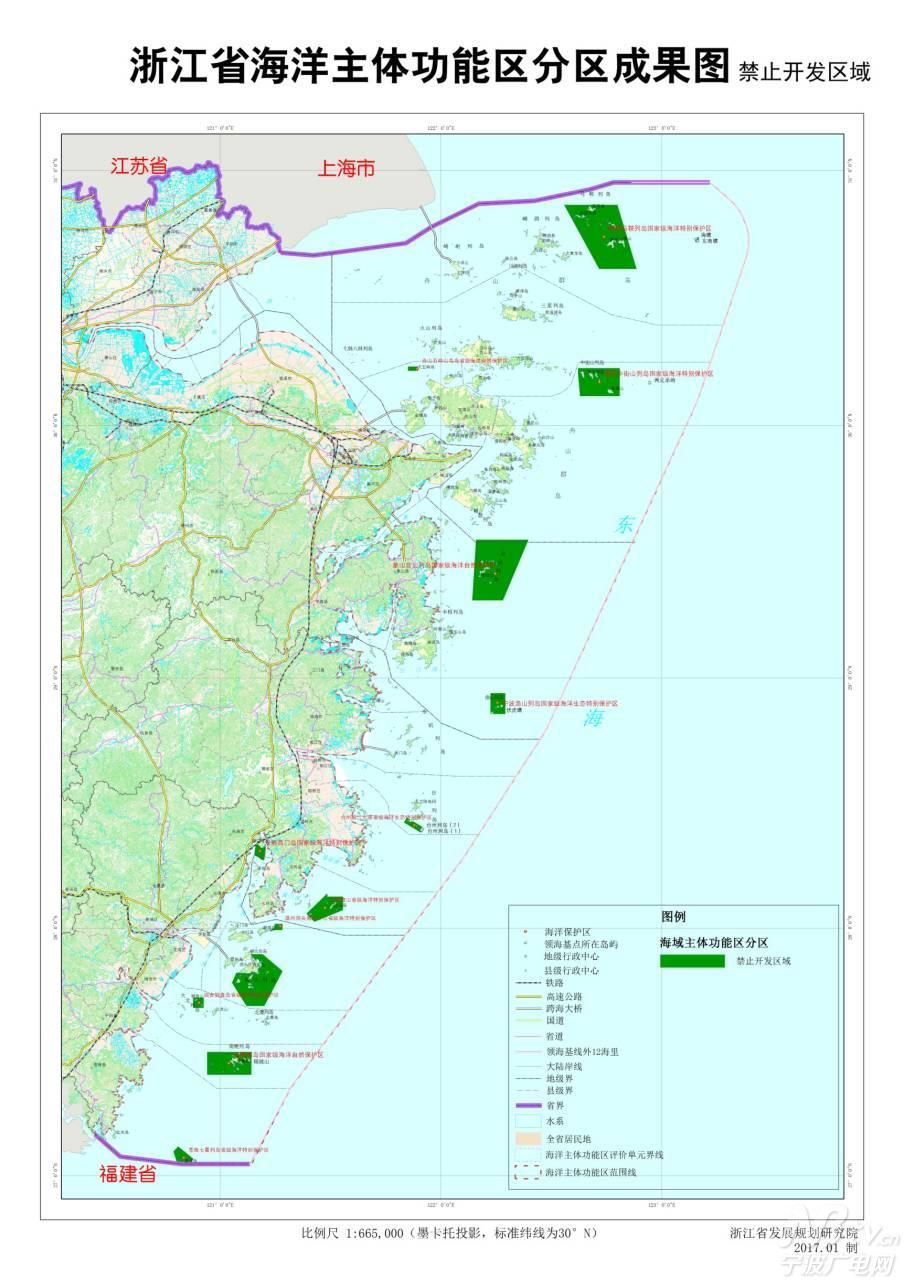 海洋生态保护示范区。主要包括海洋自然保护区和海洋特别保护区。严格保护典型性的海洋生态系统、珍稀濒危海洋生物物种以及有重大科学、文化和景观价值的海洋自然景观、历史遗迹等,着重留存被保护对象的原始性,保持海洋生态本底。 国家海洋权益保障区。主要包括领海基点保护范围。着重保护领海基点不受破坏、侵犯,维护国家领土安全,突出国家海洋权益保障功能。 未来,浙江将按照海洋主体功能分区实施差别化政策,完善海洋主体功能区政策支撑体系,采用指导性、支持性和约束性政策多管齐下的方式,形成适用于海洋主体功能定位与发展