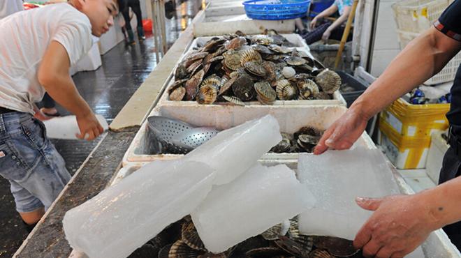杭州近江水产市场 日销千余冰块