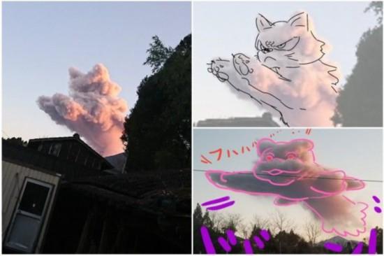 """日本火山喷发喷出只""""粉色猫咪"""" 网友们展开了创作"""